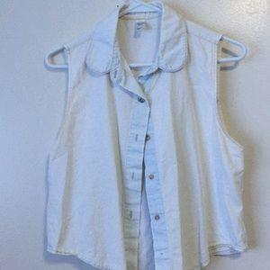 Blue denim flowy vest